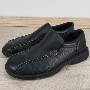 Skechers Black Leather Slip On Loafers Shoes 10.5